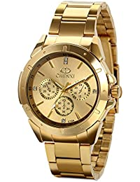 JewelryWe 高級感 メンズ 腕時計,フォーマル ビジネス,丸型 文字盤 アナログ表示 クーオツ ウオッチ,精美 ファション,ゴールド