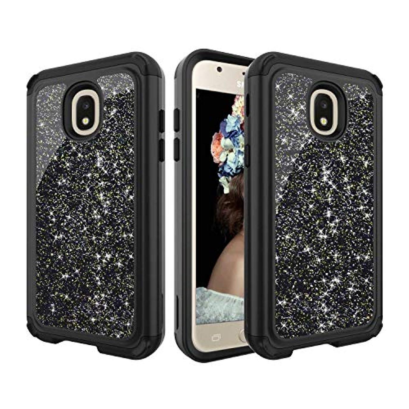 それら全部広範囲Galaxy J3 2018 ケース CUSKING PC&シリコン 二重保護 ケース きらきら 無地 おしゃれ 2層構造 ケース Samsung Galaxy J3 2018 対応 保護カバー - ブラック