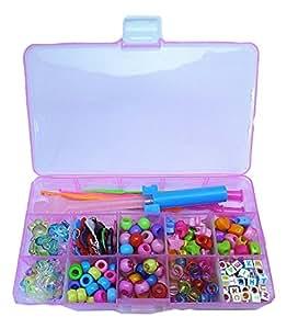 ルームバンド アクセサリー 8種類ビーズ チャーム セットケース スケルトンピンクの鉄製フック付き ピンク色箱 ファン レインボー Loom Bands 初心者おすすめ 並行輸入品 (ピンク箱)