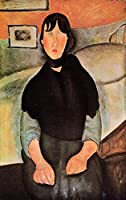 ¥5K-200k 手書き-キャンバスの油絵 - 美術大学の先生直筆 - dark young woman seated by a bed 1918 Amedeo Modigliani 絵画 洋画 複製画 ウォールアートデコレーション -サイズ17