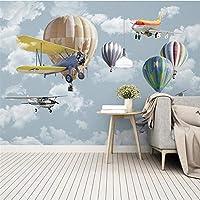 Hxcok カスタム3D写真壁紙漫画飛行機バルーン子供ルーム寝室幼稚園壁の装飾壁画PapelデParede-250X175CM