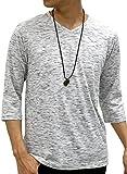 [オーバルダイス] Tシャツ ネックレス 付き セット 7分袖 Vネック 無地 メンズ