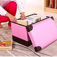 WTL かご?バスケット 長方形のストレージスツールは、大人のソファのスツールの折り畳み収納ボックスを座ることができます (色 : ピンク ぴんく, サイズ さいず : 小さな ちいさな)