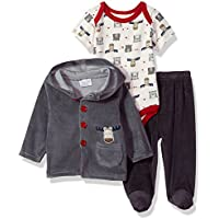 Rene Rofe Baby Unisex-Child Newborn 3 Piece Velour Jacket Bodysuit Set Pants Set - Multi