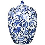 """Oriental Furniture 11"""" Floral Blue & White Porcelain Vase Jar"""