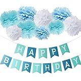 (非ブランド品)誕生日パーティー 装飾 ペーパーポンポン セット HAPPY BIRTHDAY バナー スローガン ガーランド ターコイズ ブルー ホワイト