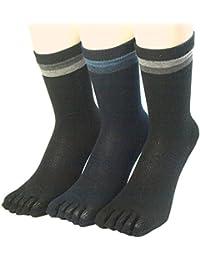 パックスエイジアン 銀イオン抗菌防臭 五本指靴下 2色ボーダー柄 3足組 #828