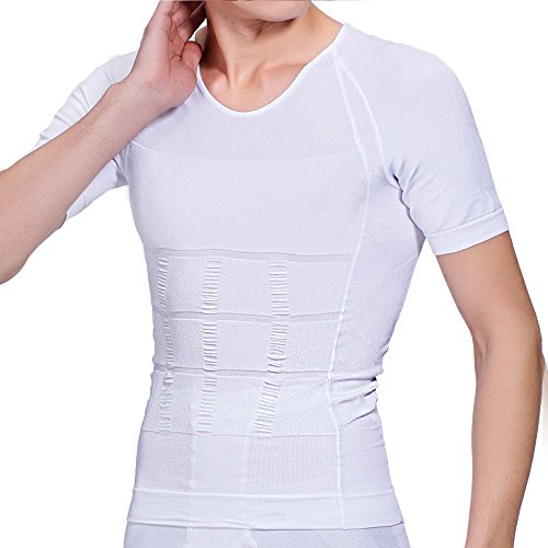 【強圧版】加圧シャツ メンズ 加圧インナー 半袖 加圧インナーシャツ コンプレッションウェアTシャツ 加圧トレーニングインナー Uネック L 白