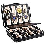 腕時計 ケース Amzdeal 腕時計収納ケース 8本用 ジッパー式 ウォッチケース PUレザー製 軽量 高級 時計ケース 携帯用/ビジネス/ギフトに最適