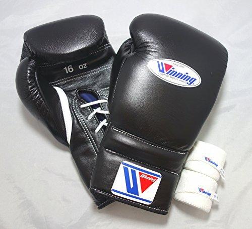 Winning 위닝 위닝문자열16온스 복싱 글로브 세트Hand Wraps Sack Pack (블랙)-