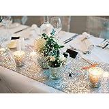 Kicode キラキラスパンコールテーブルランナー パーティー結婚式誕生日パーティー、クリスマスパーティーのために (銀)