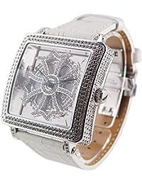 アンコキーヌ スクエアースケルトン【サイドスワロ】 ベルト【ホワイト】1126-0101 腕時計 ぐるぐる時計 グルグル時計