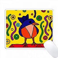 楽しいブルーバードとワームアートアブストラクト PC Mouse Pad パソコン マウスパッド
