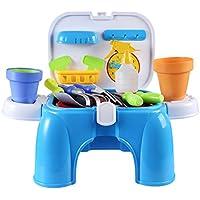 YIFAN ガーデニングおもちゃツール セット ごっこ遊び おままごと 子供向け 収納椅子付き 知育おもちゃ 庭園 屋外