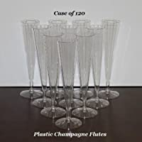 Clear Plastic Champagne Wedding Toasting Flutes (Case of 120) [並行輸入品]