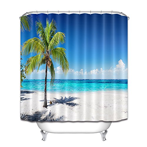 LB シャワーカーテン ポリエステル生地 浴室カーテン 防水 防カビ おしゃれ バスカーテン 目隠し用 リング付属 ビーチ風景 青空と椰子の木 ブルー 180x180cm