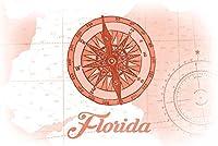 フロリダ州–コンパス–Coral–Coastalアイコン 16 x 24 Giclee Print LANT-70055-16x24