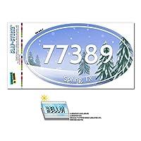 77389 春, TX - 雪に覆われた木 - 楕円形郵便番号ステッカー