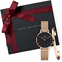 Daniel Wellington Gift Set Classic Petite Melrose Black Watch Rose Gold 28mm+Bracelet RG Small