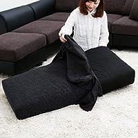 LOWYA (ロウヤ) ソファーカバー カバー単品 3人掛けヘッドレスト付ソファ専用 ウォッシャブル ブラック おしゃれ 新生活
