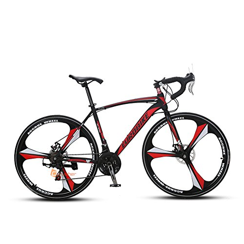 Cyrusher XC550自転車 ロードバイク 高炭素鋼 シマノTX30 21段変速TZ 50 700Cディスクブレーキ軽量 通勤 通学 街乗り (レッド)