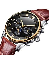 GuTe出品 腕時計 メンズ 自動巻き 日付 曜日 24時間 シンプル 夜光 革バンド 格好良い ベーシック ブラック 機械式 オシャレ