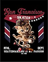 【FOX REPUBLIC】【スケートボードをする猫 ねこ】 黒光沢紙(フレーム無し)A3サイズ
