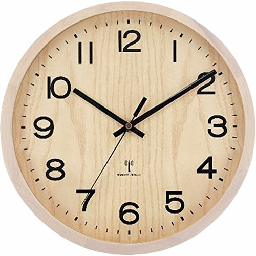 アイリスプラザ 天然木 掛け時計 電波時計 オフホワイト 29cm OTI-03