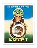 エジプト - 私はあなたの未来において幸せな日々を見ます - エジプトの占い師 - ビンテージな世界旅行のポスター によって作成された ラシャッド・マナッサス c.1960 - アートポスター - 28cm x 36cm