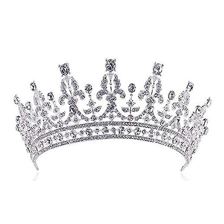 トラフィック従う急行するクラウン 人格女王の王冠ティアラプリンセスティアラ手作り 赤と透明のクリスタルとラインストーン クリスタルティアラ (Color : Silver)