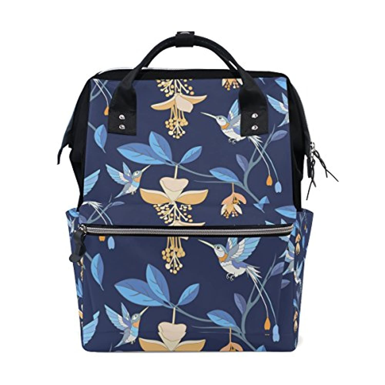 ママバッグ マザーズバッグ リュックサック ハンドバッグ 旅行用 鳥と花柄 ネイビー ファション