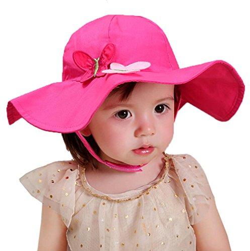 (サモルックス) Sumolux ベビー用ハット つば広ハット 赤ちゃんキャップ キッズ 帽子 子供サンバイザー 無地 リボン飾り 女の子 女児 日焼け防止 紫外線対策