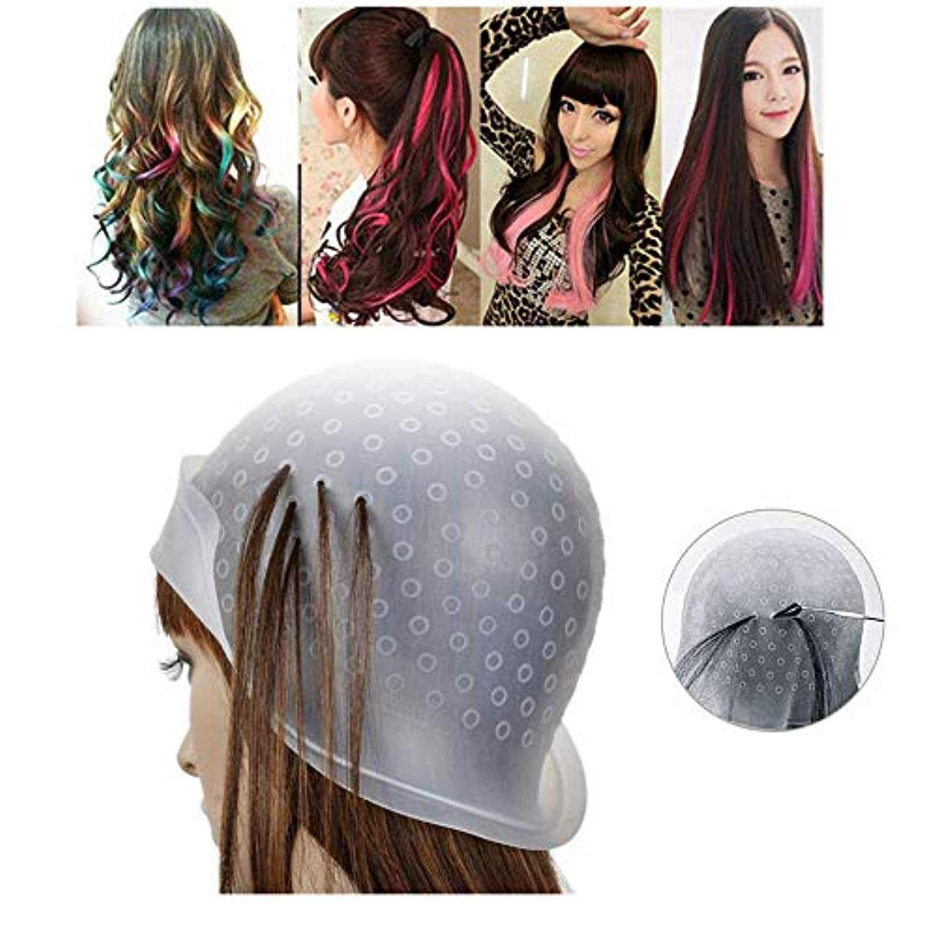 全体に杭れるメッシュキャップ ヘアカラー 毛染めキャップ 髪染め用 洗って使える ヘアカラー メッシュ 用 シリコン ヘアキャップ カラーリング 不要な染めを避ける 透明