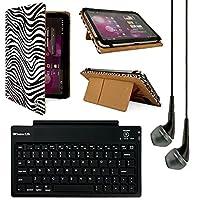 VanGoddyメアリーレザーフォリオCarrying Case for LG Gパッド/ Nokia Lumia 2520/ Kobo Arc 10HD 10.1インチタブレット( Zebra ) + Bluetoothキーボード+ VGヘッドフォン