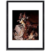 Oudry, Jean Baptiste,1696-1755「Jagdstilleben」インテリア アート 絵画 プリント 額装作品 フレーム:木製(黒) サイズ:M (306mm X 397mm)