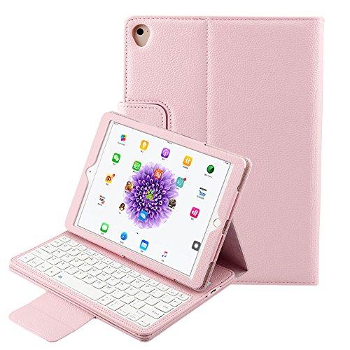 iPad Pro 10.5 キーボードカバー Bluetooth MaxKu ワイヤレス 無線 PUレザー 保護カバー付き 手帳型 脱着式 電池内蔵 iPad Pro 10.5 2017 モデル 専用 一体型 Bluetooth ワイヤレス キーボード (ピンク)