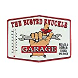 サーモメーター付き ダイカットメタルサイン 「THE BUSTED KNUCLE GARAGE」(バステッドナックル) /温度計/ブリキ看板/アメリカン雑貨/