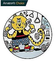 フィットネス寝室のカーペット ジムの努力で汗をかくユーモラスな面白い似顔絵印刷するラグカーペット カラーラウンドカーペット多色の重みを使用して漫画スタイルの猫(直径-100cm)