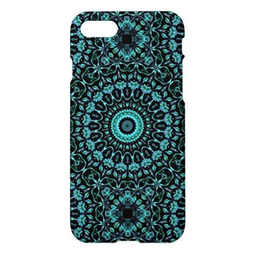 暗いターコイズの花柄の曼荼羅iPhone7ケース アイフォン7 ケース スマホケース おしゃれ側面まで印刷 ハードケース