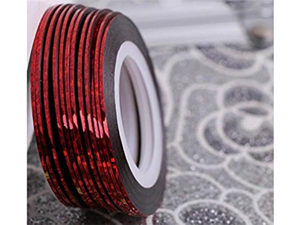 足首活気づく国歌Osize ネイルアートキラキラゴールドシルバーストリップラインリボンストライプ装飾ツールネイルステッカーストライピングテープラインネイルアート装飾(赤)