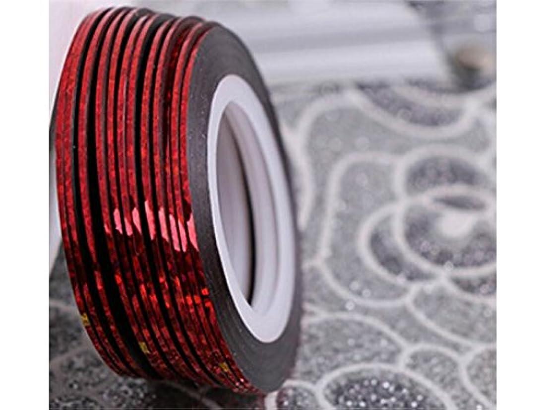 慣習浪費排気Osize ネイルアートキラキラゴールドシルバーストリップラインリボンストライプ装飾ツールネイルステッカーストライピングテープラインネイルアート装飾(赤)