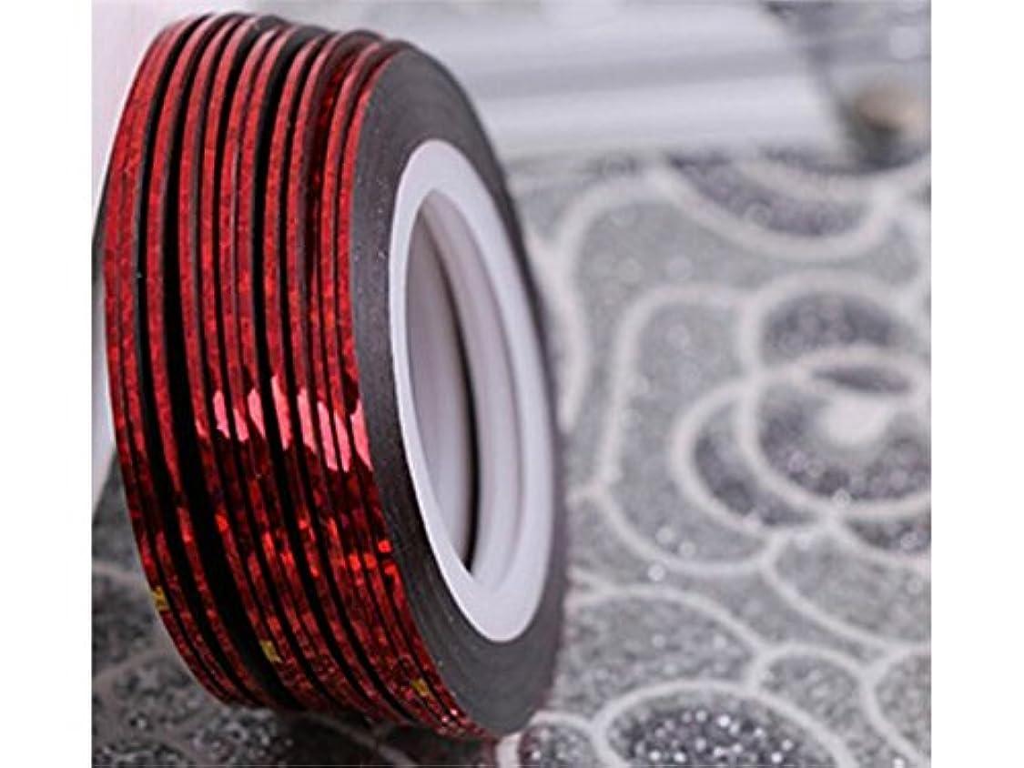 Osize ネイルアートキラキラゴールドシルバーストリップラインリボンストライプ装飾ツールネイルステッカーストライピングテープラインネイルアート装飾(赤)