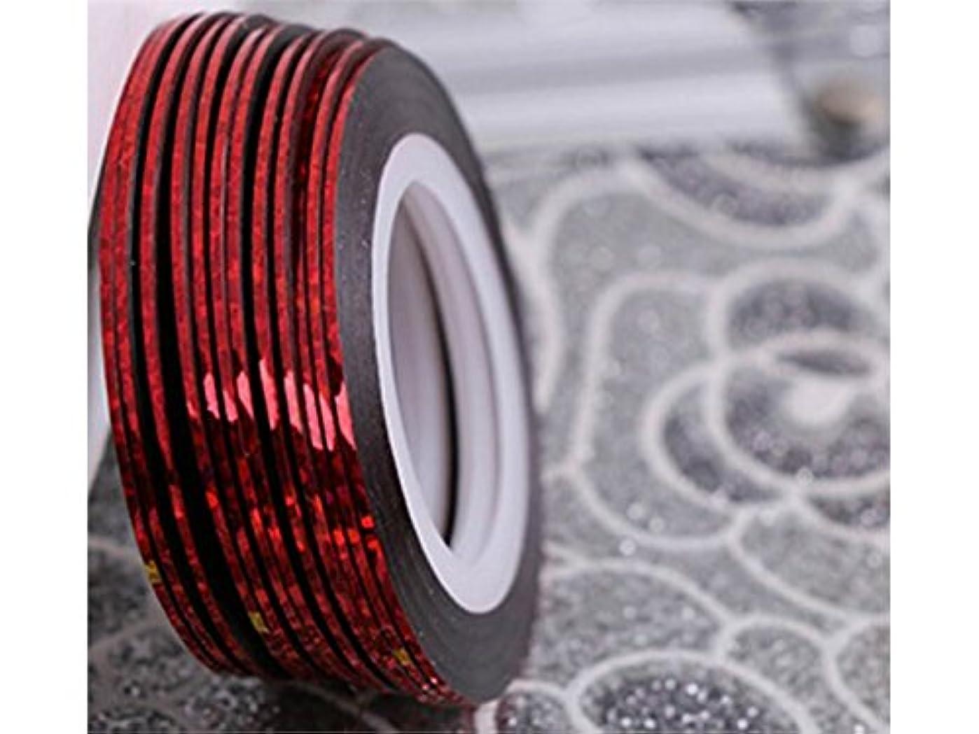 禁止する溶接活性化Osize ネイルアートキラキラゴールドシルバーストリップラインリボンストライプ装飾ツールネイルステッカーストライピングテープラインネイルアート装飾(赤)