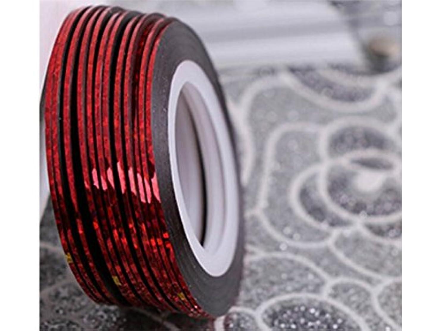 バインド四分円酔ってOsize ネイルアートキラキラゴールドシルバーストリップラインリボンストライプ装飾ツールネイルステッカーストライピングテープラインネイルアート装飾(赤)