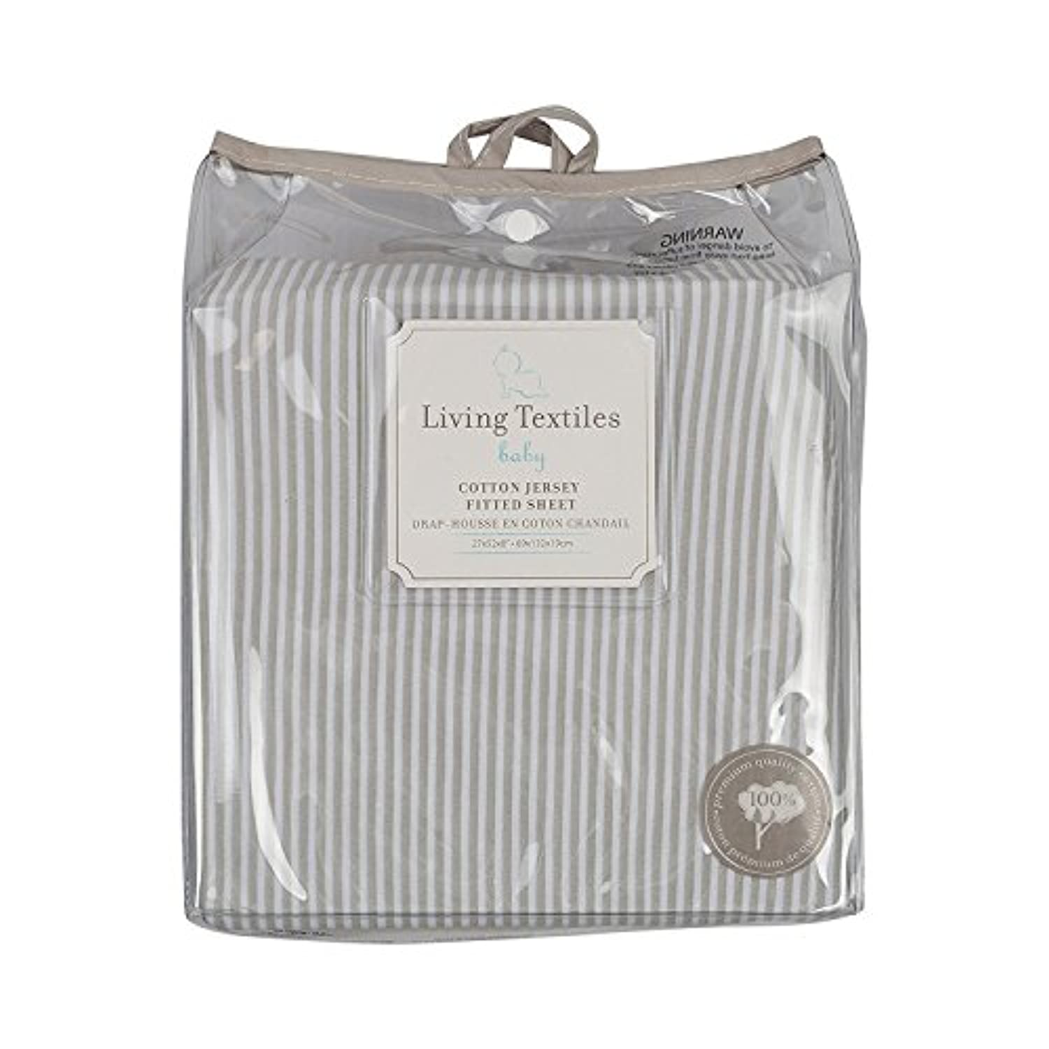 Living Textiles Jersey Fitted Sheet, Grey Stripe by Living Textiles