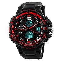 SKMEI 50M 防水 メンズ 腕時計 石英 輝く 完全なカレンダー クロノグラフ スポーツ 時計 トレンド 世界時間 かっこいい 目覚まし時計 紳士 学生 男性 (赤)