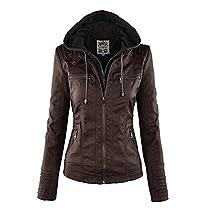 Tisatee-JP 秋と冬 レディーファッションレザージャケット フードパーツは着脱可能 長袖チャック付けレディーレザージャケット ダークブラウン XL