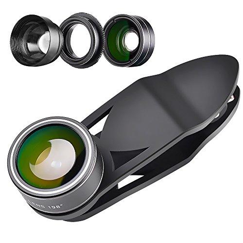 Gamguy スマホ用カメラレンズ 5in1 スマホレンズキット 広角 魚眼 マクロ 望遠 CPLレンズ 高画質 クリップ式 iPhone/HTC/Android タブレットPCなど対応