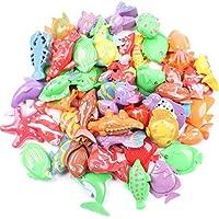 50pcs 子供磁気釣りのおもちゃ 7-11Cm 両面プラスチック魚バルクおもちゃ 教育おもちゃ