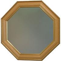 イタリア製 JHAアンティーク風水ミラー (エレガント・ライトオーク&ゴールド)八角形W495×H495 IG-41 八角ミラー 八角鏡 壁掛け鏡 ウォールミラー